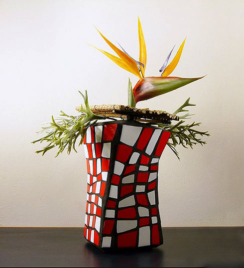 Mosaik und Ikebana Blume