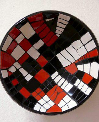 Mosaikschale rot/weiss/schwarz