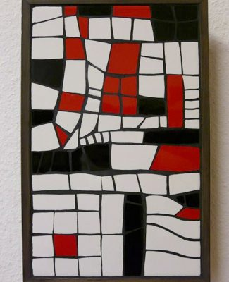 Mosaik Bild weiss/schwarz/rot