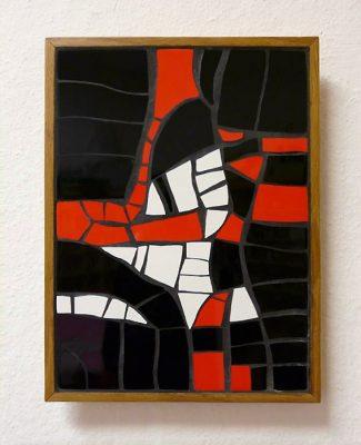 Mosaik Bild schwarz/rot/weiss