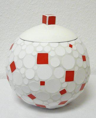 Tile Art Lipka Mosaik Gefäß rot/weiss