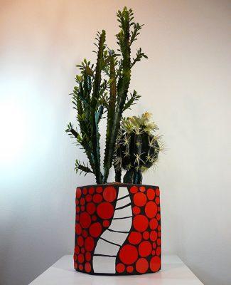 Vase rot/weiss/schwarz