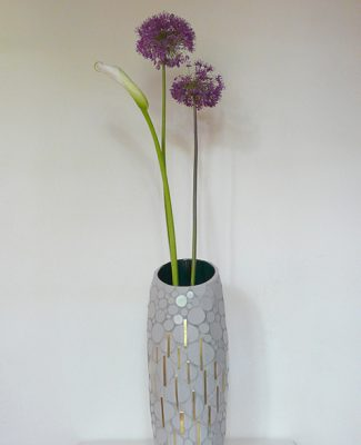 Vase grau/gold